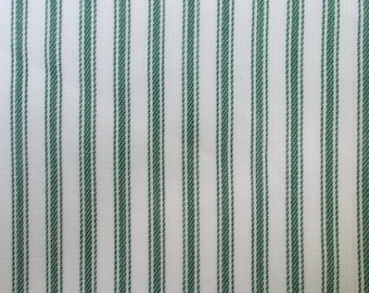 Green and White Ticking Stripe Fabric By the Yard Cotton Home Decor Apparel Drapery