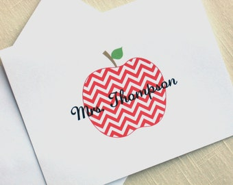 Chevron Teacher Note Cards - Chevron Red Apple - Personalized Teacher Note Cards  - Set of 8