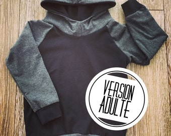Hoodie for women, black and charcoal grey bamboo