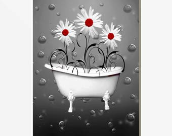 Red Gray Bathroom Decor, Red Daisy Flowers Bubbles Home Decor Matted Picture