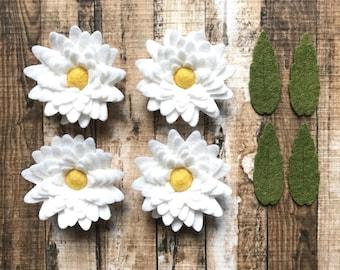 Wool Felt Flowers - White Daisies  - Dimensional Felt Flowers- Wool Felt Balls - Set of 8 - White Felt Daisy