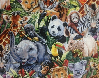 Jungle Babies by Jenny Newland for David Textiles/Quilting Sewing Fabric/Elephant Zebra Monkey Giraffe Lion Tiger Rhino/HALF YARD Pricing