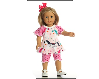 Doll clothes 18 inch American Made Carousel shorts outfit girl doll dress 15 inch doll dress 14.5 inch doll shirt Shorties and top outfit
