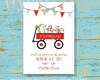RED Wagon Party Printable Party Invitations - I design - YOU PRINT