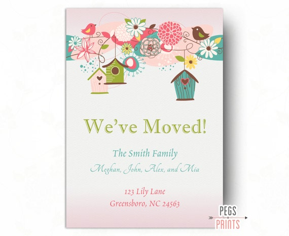 Printable moving announcement moving cards weve moved printable moving announcement moving cards weve moved cards new address announcement new home announcement whimsical birds m4hsunfo Choice Image