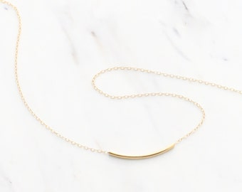 Curve Bar Necklace, Gold curved tube necklace, Tube necklace gold, Rose gold curved bar, simple dainty layering necklace bridesmaid jewelry