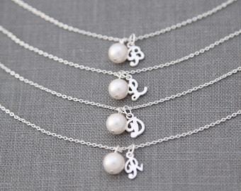 Bridesmaid Bracelet Set of 3, Custom Bridesmaid Gift, Pearl Bracelet with Initial Bridesmaid Jewelry Gift Set of 3