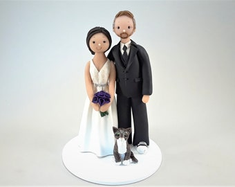 Unique Cake Toppers - Bride & Groom with a Cat Customized Wedding Cake Topper