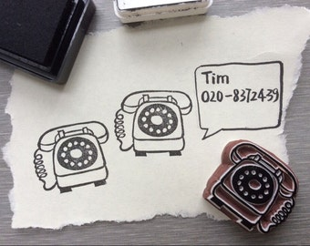 Vintage telephone stamp. telephone stamp. rubber stamp.hand carved stamp.mounted