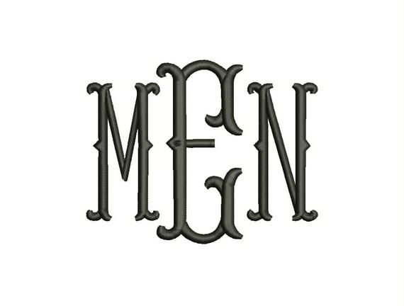 Sale Fishtail Monogram Font Machine Embroidery Monogram
