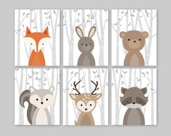 Fox Animal Wall Art Nursery Decor Woodland Nursery Forest Animals Baby Woodland Decor bunny rabbit deer bear squirrel, 6 PRINTS or CANVAS