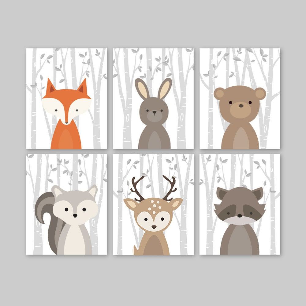 Fox animal wall art nursery decor woodland nursery forest for Animals decoration