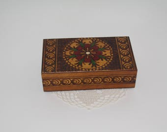 Polish old Wooden Jewelry Box Ornament wood box Pyrography Trinket Box Hand Tooled Handmade Casket hand carved box Soviet Decor Hand painted