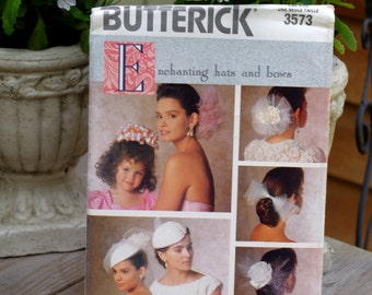 Vintage Butterick Pattern 3573 Hats and Bows