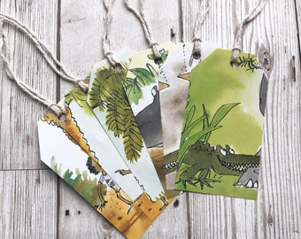 Enormous Crocodile Roald Dahl Gift Tags Labels Upcycled Tags Book Page Handmade Recycled Birthday Wedding Baby Shower