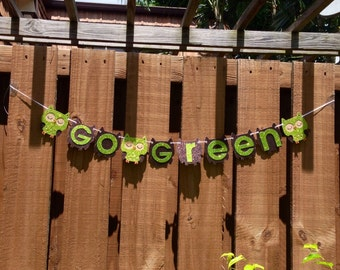 Personalized Banner - Owl Go Green Glitter