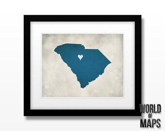 South Carolina Map Print - Home Town Love - Personalized Art Print