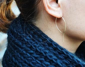 Curvy Hoops Earrings, Long Hoops Earrings, Open Hoops Earrings, Curvy Lines Earrings, Rose Gold Filled, Gold Filled, Sterling Silver