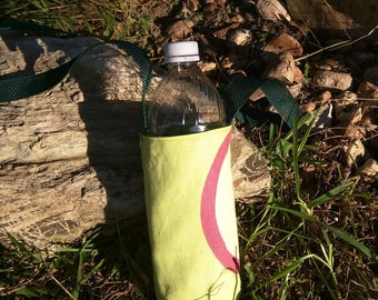 Lime green crossbody water tote, red bottle carrier, reusable water sling, reversible bag travel water bottle holder, hiking water carrier