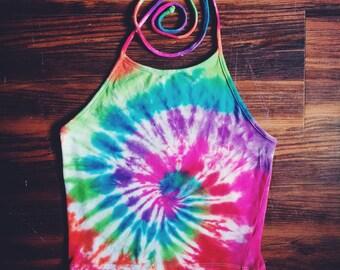 Tie Dye Halter Top - Rainbow - Handmade - Spiral Tie Dye - Festival Fashion - Crop Top