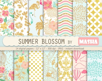 "Flower digital papers: ""SUMMER BLOSSOM"" with summer digital papers, floral patterns, gold patterns, 14 images, 300 dpi. JPG files"