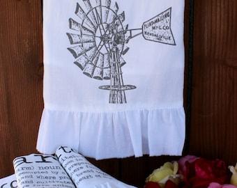 Farhouse, Shabby Chic, Cottage, Tea Towel, Flour Sack Towel, Windmill, Ruffle (windmill)