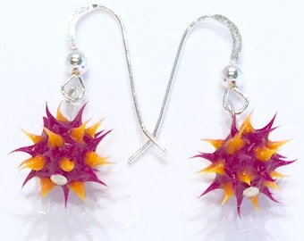 Purple and orange spiky earrings, spiky rubber earrings, spiky ball earrings, silicone ball earrings, sterling silver and spiky ball dangles