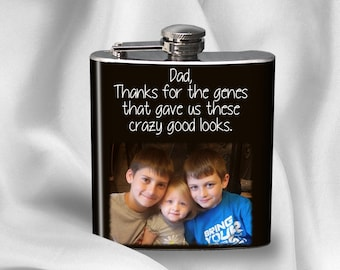 SALE! Hip Flask for Dad - Photo Flask - Gift for Dad - Birthday gift - Alcohol - Liquor - Stainless Steel - 6 oz.-  - Cyber Monday