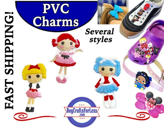 PVC Charms, LOOPSEY* 20% OFF Any 4 PvC Charms * 1.99 Shipping *For Shoes, Hair, Pins-Choose back-Button, Pin, Slider, Hair Clip, Velcro
