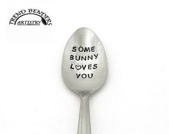 Easter gifts for him etsy anniversary gifts for boyfriend some bunny loves you hand stamped spoon easter basket stuffers for girls negle Gallery