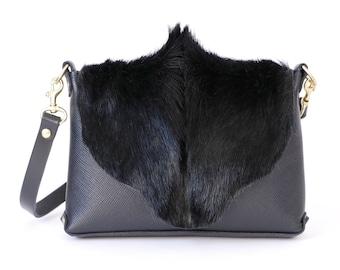 "Black Springbok Fur Handbag ~ ""BRISTOL"" Bag"