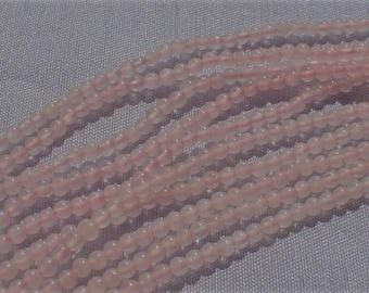 natural gemstone pale pink rose quartz smooth round bead 2 mm 15 inch one strand