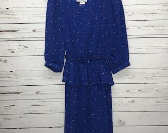 Ladies 70's vintage Alison Peters blue confetti sheer secretary casual dress SZ: 12