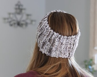 Gray Headband - Womens Knit Headband - White and Gray Headband - Chunky Winter Headband - Knit Hairband - Winter Hair Accessories