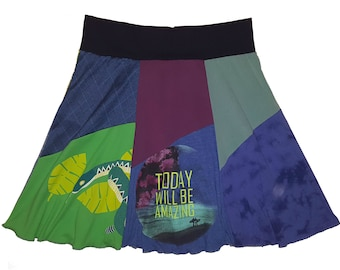 Amazing Skirt Women Size XL 1X Upcycled Recycled Hippie Repurposed Skirt Tree T-Shirt Skirt best selling item Twinkle Skirts Twinklewear