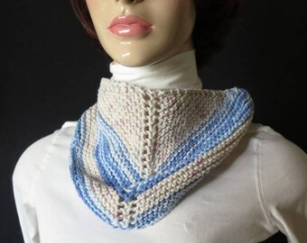 Scarves - Triangle cotton - head scarf - neck bandana - babushka - Colors Off White and Blue- Mixed Fiber primarily cotton - hand knit