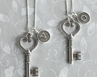 Initial Key Heart Necklace Personalized Sterling Silver Chain Best Friend or Bridesmaid Pendant On Sale