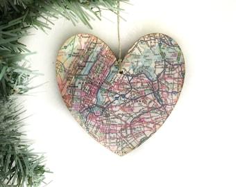 New York City Map Ornament, NYC Map Ornament, New York City Christmas Ornament, New York City Ornament, Manhattan Ornament