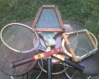 3 wood tennis rackets, rare York PA Webb & Wolfes Armour's Strings canvas cover, two frame presses Dunlop Wilson Slazenger Regency