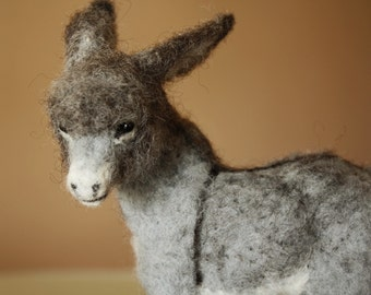 Needle felted donkey, burro foal, animal miniature, soft doll equine, Burrito baby sculpture