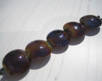 Silvered Lampwork Glass Lentil Beads (5), SRA, UK Seller, UK Lampwork
