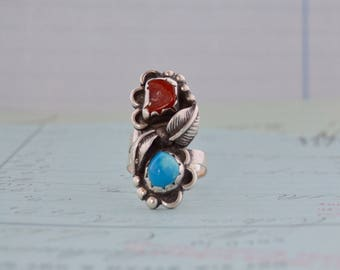 Navajo Sterling Turquoise and Coral Ring - Size 7.75