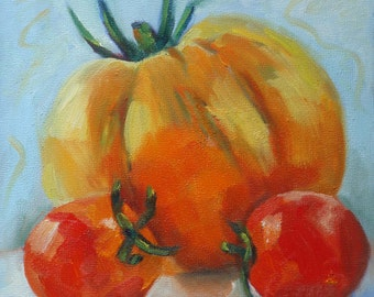 Heritage Tomato on Birchwood// 8 x 8 Original Still Life Oil Painting//Kitchen Art//Red Yellow and Aqua//Hanger