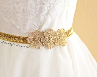 Gold Flower Lace on Skinny Gold Glitter Elastic Belt, Bridal gold belt , Bridesmaid Gold Belt,  Sash Belt