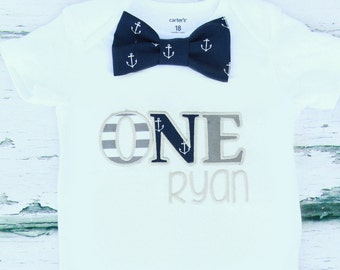 Baby Boy ONE year outfit Baby boy Cake smash outfit baby boy nautical theme first birthday outfit