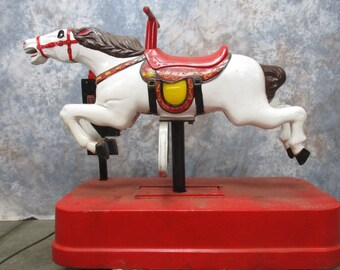 Thunder Sandy Horse Coin Operated Kiddie Carnival Ride Store Display Carousel f, Coin Operated Ride, Kiddie Ride, Mechanical Horse