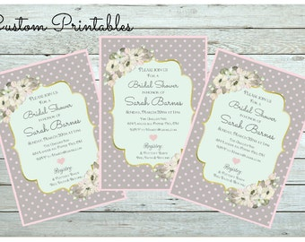 Printable Custom Invitation, Tea Party, Bridal Shower, Baby Shower,  Shabby Chic Invitation, Gray, Pink, Mint