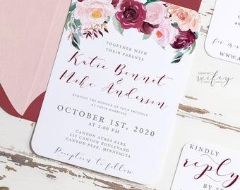 Burgundy & Blush Floral Wedding Invitation Set, Rustic Wedding Invitation, DIY Wedding Invitation, PDF Printable Invitation, Invitation Kit