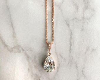 Rose gold wedding necklace - bridal pendant - wedding jewelry - bridesmaid necklace - teardrop pendant - Avery pendant