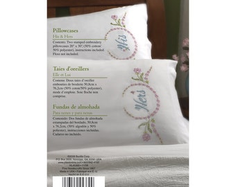 Bucilla Pillowcases Kit - His and Hers Floral